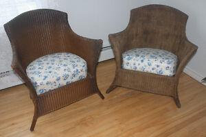 Antique Wicker Chair & Matching Rocker