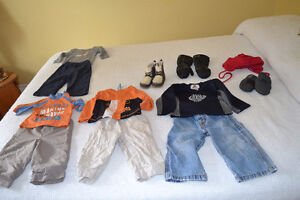 Mix and match size 12 months boys clothing, mitts, boots