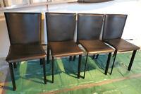 Chaises de salle à manger en cuir (noir)