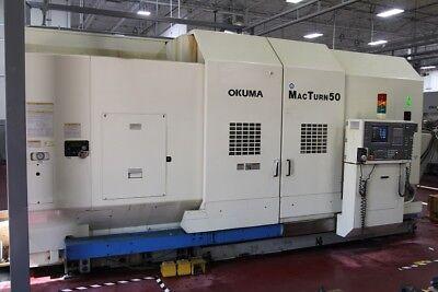 Used Okuma Macturn 50 Cnc Lathe 1999 Y-axis 22 Dia 50 Tools 30 Hp 60 Length