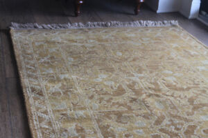 Luxurious Rug Oushak Hand-knotted Pure Egyptian Wool 5.1' x 3'