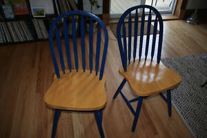 Great condition! Set of sturdy blue wooden chairs
