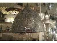 Silver Crackle Glaze pendant light