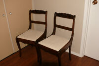 2 antique wooden kitchen chairs refinnished and re upholstered