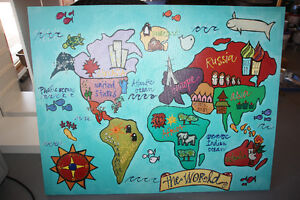 Kids Large World Canvas Painting Cambridge Kitchener Area image 1