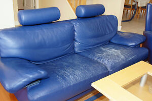 Leather couch + chair + footrest + headrests