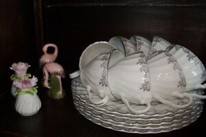 White and silver set of dishes Made in England