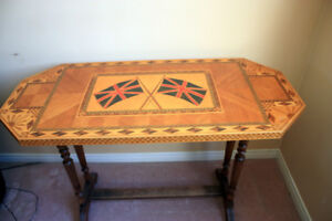 Marquetry wood inlay table