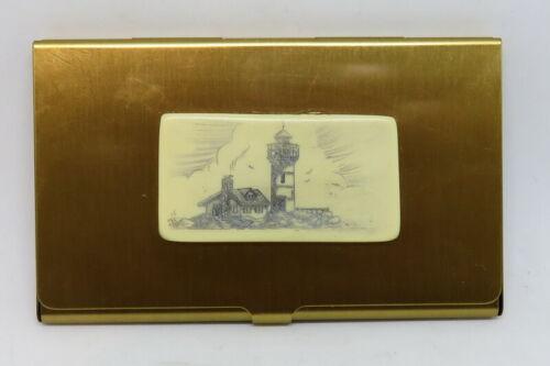 Scrimshaw Lighthouse Faux Business Card Holder Brass