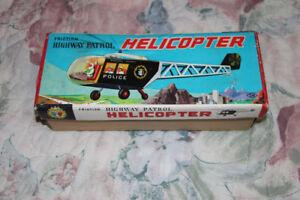 Vintage Japanese Tin Friction Highway Patrol Helicopter SN Japan