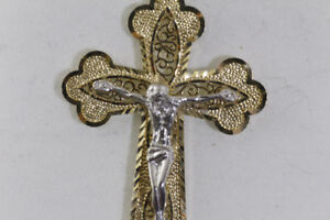 NEW TWO TONE HAND CARVED CRUCIFIX ON 14k. GOLD CROSS FOR SALE