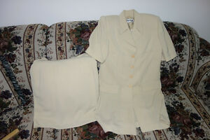 Women's Beige Suit Jacket and Skirt - Size Small 6/7 Worn once