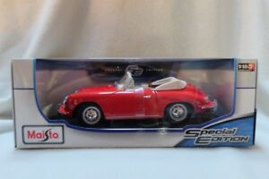 1:18 Maisto Diecast Model Car - Porsche 356B Cabriolet 1961 RED
