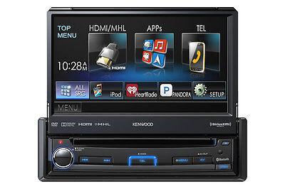 "KENWOOD KVT-7012BT CAR 1-DIN DVD CD BLUETOOTH STEREO W/ MOTORIZED 6.95"" SCREEN"