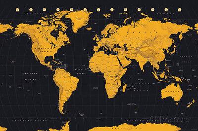 World Map Gold   Black Poster Print  36X24