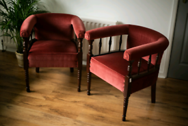 Newly upholstered Pair of 1930/40s tub chairs.