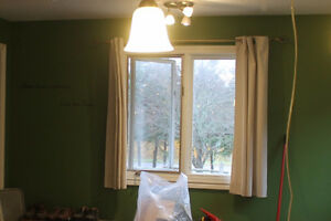 Cream Corduroy curtains and Valance