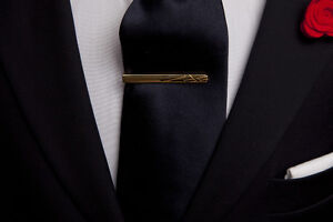 NIB Ox and Bull Gold Etched Lines Tie Clip Bar