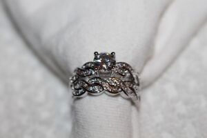 BRAND NEW 2pc 1.4CT Round Cut Diamond & Sterling Silver Ring