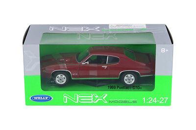 1 24 27 1969 Red Pontiac Gto Judge Welly Diecast Car