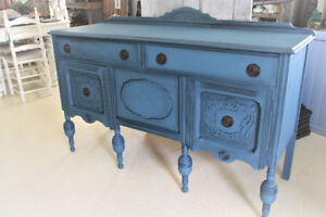 ANTIQUE BUFFET, SIDEBOARD, REFINISHED, HAND PAINTED