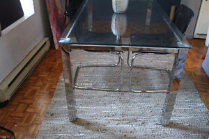 Beautiful Modern Glass & Chrome dining table (Very Solid)