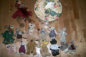 13 Collectable  Teddy Bears with a Victorian Hat storage  box