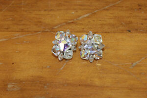 Vintage Clear Bead Clip On Earrings
