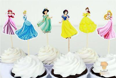 24 x pack Disney Princess Themed  Cupcake Pick Decoration Topper Birthday Party  - Disney Princess Theme Party Decorations