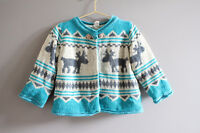 Ice lake green moose winter festival knitted baby cardigan