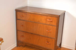 1)3 drawer hardwood vintage bureau $100; vintage end table $40