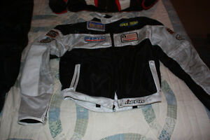 motrocycle jacket and racing boots