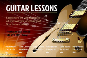 Guitar or bass lessons in your home.