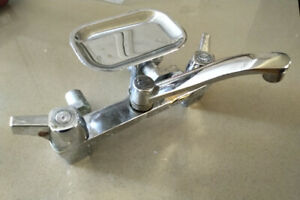 Vintage Laundry Faucet - Waltec, Chrome, Soap Holder, Movie Prop