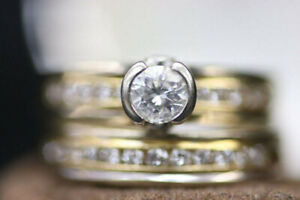 14-18k White & Yellow Gold Diamond Wedding Ring Set (#14611)