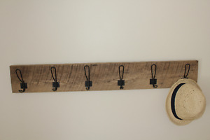 Reclaimed Wood with Hand Forged Black School House Hooks