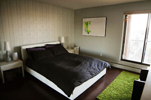 Furnished 2 bed condo (near 17 Ave SW, underground parking)