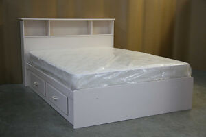 White Queen Size Captains Bed Frame and Headboard **Brand New**