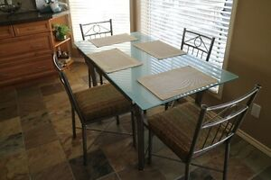 Custom Iron Kitchen Table, Chairs and Bar Stools