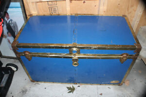 blue vintage steamer trunk travel box chest treasure chest