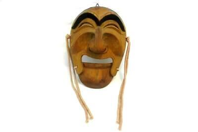 Vintage Japanese Wood Mask Hand Carved Man Articulated Lower jaw