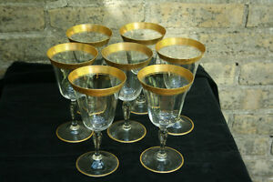 7pc Vintage Crystal Water Goblets, Raised Gold Foliate Edge Stratford Kitchener Area image 2