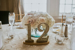 Gold Glitter Wedding Table Numbers