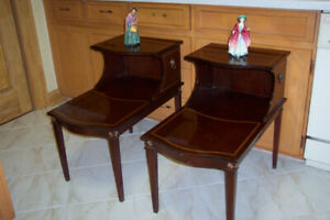 3 Mahogany Vintage Step END TABLES & Corner Table