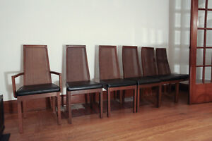 6 dining room chairs great condition nice wicker backed retro
