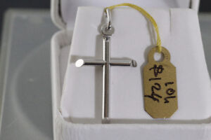 NEW SOLID STAMPED 10K. ITALIAN WHITE GOLD CROSS FOR SALE