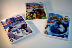 3 Wii Games - Madagascar Kartz, Happy Feet Two, Surf's Up