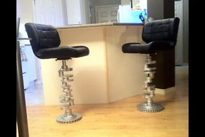 3 bar stools made from crank shafts
