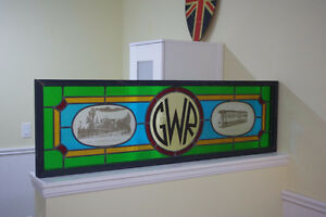 Framed Stained Glass Great Western & Canadian Railway Art Piece London Ontario image 1
