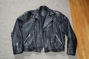 Vintage studded black leather motorcycle biker jacket rocker L